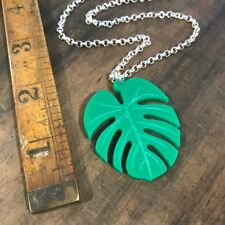 necklace chain large pendant Cheeseplant monstera leaf tropical