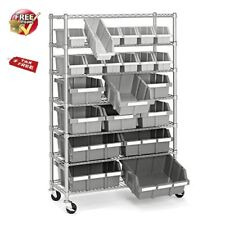 Plastic Bin Rack 7 Shelf Commercial Storage Cart Organizer Mobile Large Metal
