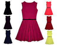 GIRLS SKATER DRESS SWING FLARED FANCY PARTY BELTED KIDS SLEEVELESS 5-13 YEARS