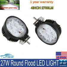 2X 27W 4inch Round Flood LED Work Light Offroad Fog Driving SUV ATV Truck 4WD