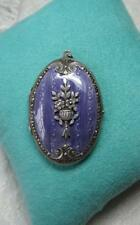 Antique Locket Silver Purple Guilloche Enamel Victorian Belle Epoque Flower 1910