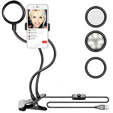 Neewer Clamp-on LED Selfie Ring Light with Cell Phone Holder for Live Stream