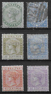 Gibraltar 1886 and 1889 selection mounted mint / used