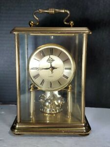 BUCHERER Quartz Gold Moving Clock W Germany  RARE! Vintage (LR)