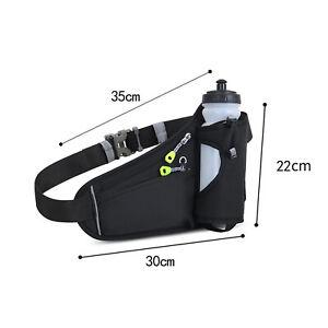 Running Belt Waist Pack with Water Bottle Holder Fitness Waterproof Bum Bag UK