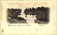 Gruss aus ESSEN a.d. Ruhr Postkarte 1900 Stadt-Garten gelaufen n/ Hemelingen