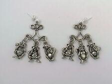 Three wise Monkeys Chandelier Earrings on Sterling Silver 4mm Ball Posts