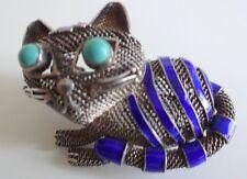 Vintage Sterling Silver 925 Designer Enamel Turquoise Mesh Cat Pin Brooch