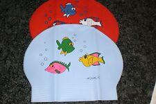 2 AQUALIS Kids Fish Print Swim Caps 1 red with fish & 1 blue with fish Swimming