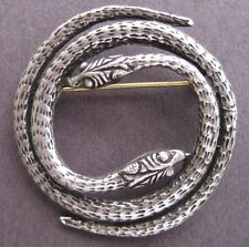 Two Headed Silver Snake Pin - Reptile Brooch - Jewelry - Silver and Silver Eyes