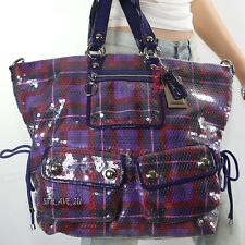 New Coach Poppy Pop C Sequin Tartan XL Spotlight Shoulder Bag Tote 15890  RARE