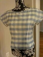 Women Checked Organza Short Sleeve BROOKS BROTHERS  Sz 4 NWT