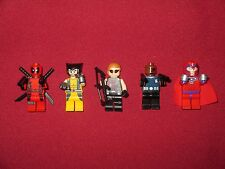 LEGO Superheroes Minifigures LOT,Deadpool,Wolverine,Magneto,Nick Fury,Hawkeye