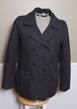 NICE dELIAS Wool Double Breasted Grey Pea Coat Quilt Lined Size Large