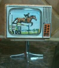 vintage free standing television doll house furniture horse jumping wood plastic