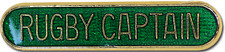 Rugby Captain Pin Badge in Green Enamel With Rounded Edge