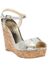 Jimmy Choo 8366 Prova Snake-Print Ankle Strap Wedge Sandal Light Khaki Size 41