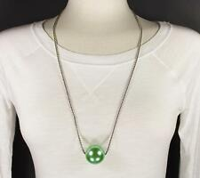 """Green big huge faux pearl necklace bead beaded 29"""" long statement sweater"""