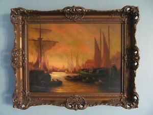 Original Vintage Oil Painting Dutch Harbour Scene at Sunset Gallery Label Boats