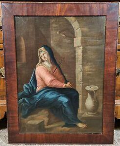 Antique 17th 18th Century Oil Painting Virgin Mary Italian Spanish Old Master