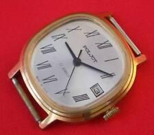 LUXURY Poljot vintage wrist watch GOLD PLATED AU CASE ROMAN NUMBERS SOVIET USSR