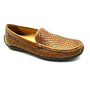 Tommy Bahama Orson Woven Venetian~Brown Leather Loafers~Brazil~Mens 7M~MINT!