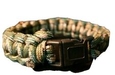 Braided Paracord Survival Bracelet Camo Tan and Green with Plastic Clip Strong
