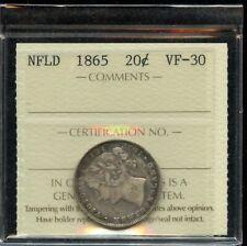 1865 Newfoundland Twenty Cents -  ICCS VF-30