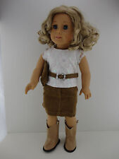 A Cute 4 Pc Outfit with White Shirt Brown Skirt and Matching Purse Also Includes