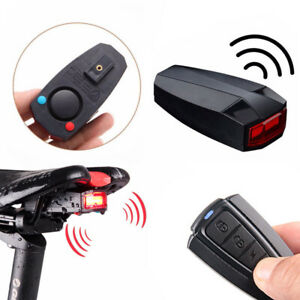 Bicycle Bike Security Lock Alarm LED Tail Light Anti-theft Remote Control