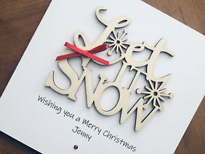 Personalised Handmade Christmas Cards - Wooden Let It Snow 13.5cm X 13.5cm