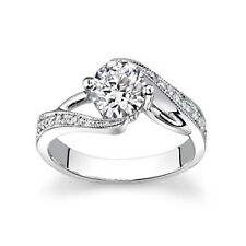 Solitaire Women Engagement Ring 6 5 8 Real 18K White Gold 0.55Ct Natural Diamond