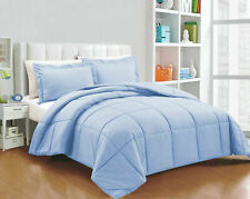 Down Alternative Comforter & Sheet Set Egyptian Cotton Sky Blue Solid US Sizes