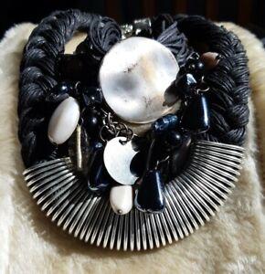Black Cord & Silver Tone Necklace & Bracelet Plus A Charm Necklace & Clip Ons