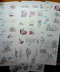 6 x A5  tatty teddy XMAS decoupage -all different-6 packs to choose