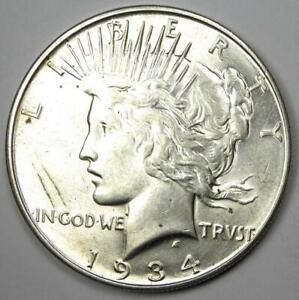 1934-D Peace Silver Dollar $1 - Choice AU / UNC MS - Nice Luster - Rare Date!