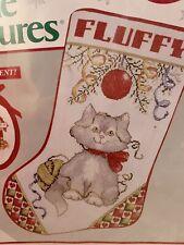 NEEDLE TREASURES CAT CROSS STITCH KIT CHRISTMAS KITTY STOCKING SEALED
