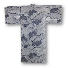 "Japanese Yukata Kimono Men Sash Belt 58"" Cotton Navy Nami Wave Made in Japan"