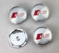 Audi RS Line Silber 4 x 60mm Nabenkappen Felgendeckel Allufelge Silver Wheel Cap