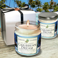 Caribbean Dream, Handmade Soy Candles that smell AMAZING in 4oz Glass Jars