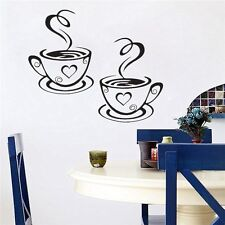 Trendy Hot Coffee Cups Cafe Tea Wall Stickers Art Vinyl Decal for Kitchen Home