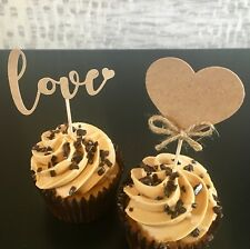 12 RUSTIC SHABBY CHIC WEDDING ENGAGEMENT CUPCAKE TOPPERS ANNIVERSARY HEN PARTY