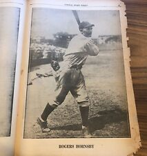 1929 - ROGERS HORNSBY - Chicago Cubs - Baseball Player - PHOTO  Newspaper