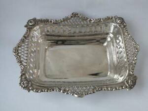 Pretty Pierced Antique Victorian Solid Sterling Silver Dish 1897/ L 16.2cm/120g