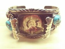 Vintage Native American Sterling Silver Turquoise/Coral Watchband