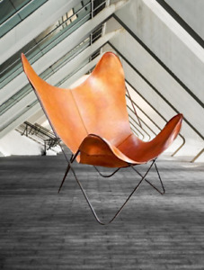 Industrial Retro Iron Butterfly Chair With Real Leather Seat Relax Arm Chair