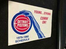1979-80 Detroit Pistons Basketball Pocket Schedule AMOCO Version