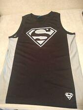 Men's Superman 100% Polyester Black Basketball Jersey Tanktop - Size Small