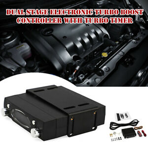 Dual Stage Electronic Turbo Boost Controller with Turbo Timer Aluminum Universal