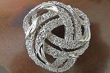 Brooch Pin - Signed Crown Trifari -DIAMOND CUT SHINY Silver Tone-VINTAGE